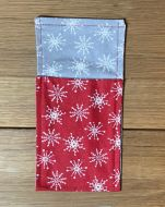 Cutlery Pouches Scandi Large Snowflake on Red