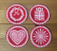 Coasters Set of 4 White on Red
