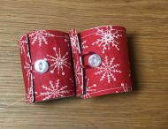 Napkin Rings Set of 2 White on Red with Button Finish