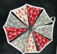 Scandi Bunting Trees Red/Grey