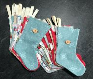 24 Mini Stockings with Wooden Decals